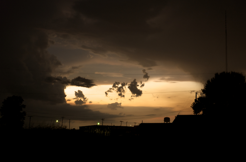 The sun sets over Arkansas